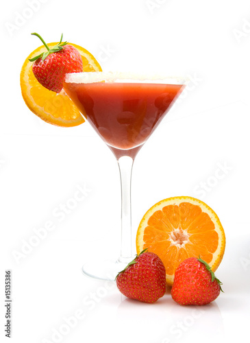 Fresh tropical strawberry cocktail on white backgound