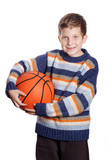 Child with basketball a over white background