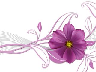 Florales Design mit violetter Blüte
