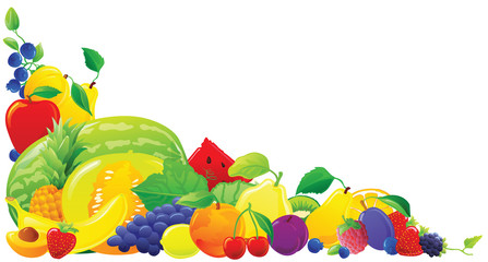 Colorful fruit corner. Vector illustration.