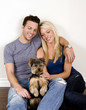 Couple and puppy