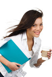 Beautiful businesswoman in hurry poster
