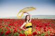 Attractive girl in the poppy field