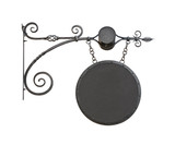 Hanging wrought-iron notice sign cutout poster