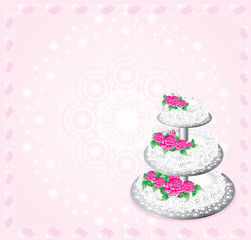 festive white cake on three tiers decorated rose