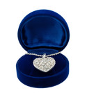 Chain with a brooch in form of heart in blue present box poster