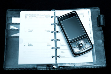 notebook and phone