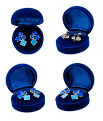 Earring in blue present box