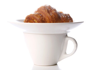 fresh croissant with black coffee