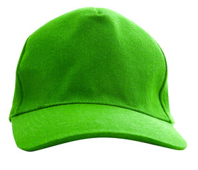 A green baseball cap is isolated