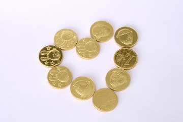 chocolate coins heart