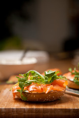 Creamcheese and salmon bagel