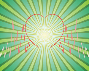Background vector sunburst & heart