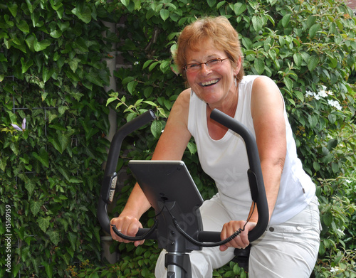 Elderly woman training