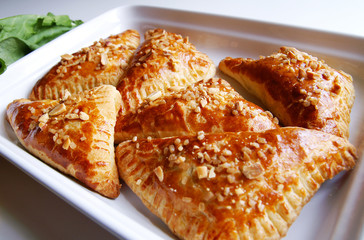 Puff-pastry pasties filled in fresh sorrel