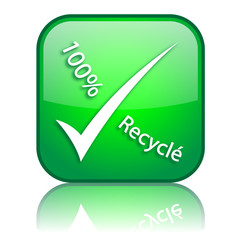 "Logo ""100% Recyclé"" avec reflet (vert)"