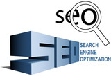 SEO search engine optimization symbols find magnifying glass poster