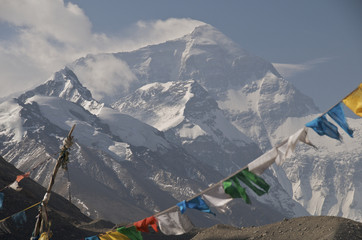 Prayer flags and Mt Everest