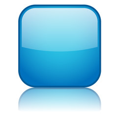 Square Web Button with reflection (blue)