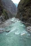 Marsyangdi river and Annapurna mountains. poster