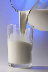 milk pouring in glass from pitcher