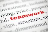 mot teamwork collaboration lettres rouge texte flou poster