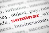 mot seminar seminaire texte flou lettre rouge poster