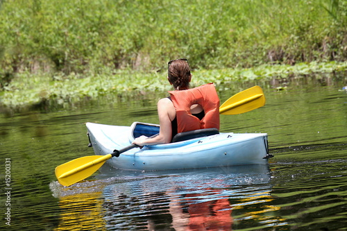 Woman kayaking in the wetland