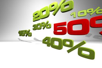 Series of various percentage numbers