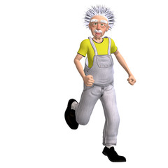 funny worker in dungarees