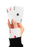 Hand and card in sleeve poster