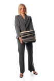 Businesswoman Holding Stack of Paperwork poster