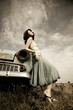 roleta: girl near old car in retro style
