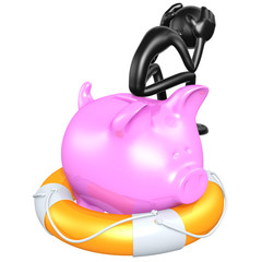 3D Character With Lifebuoy Piggy Bank