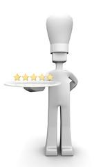 Five star restaurant chef serving guest concept