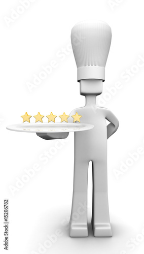 Five star restaurant chef serving guest concept