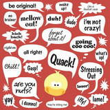 Various phrases in comic balloons poster