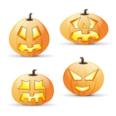 Four  different halloween pumpkins - vector file