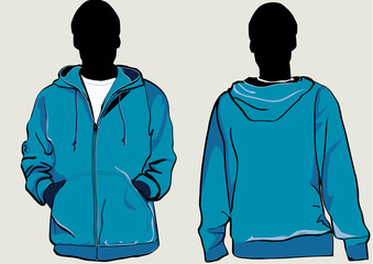 Man in hooded sweatshirt with zipper