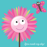 You Made My Day Card with flower and butterfly