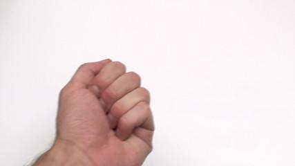 Hand holds a few pennies - HD