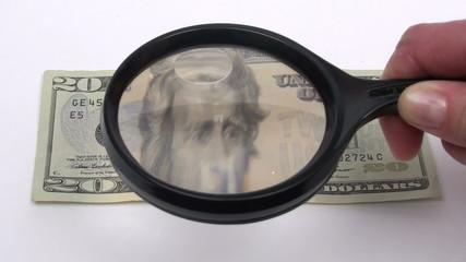 Magnifying twenty dollar bill front - HD