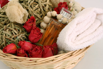spa items with roses