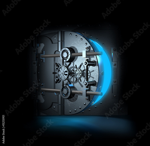 open bank vault, 3D render - 15213951