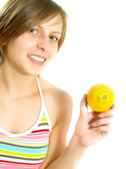 Very cute lady showing a lemon