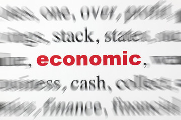 mot economic Économique lettres rouge texte flou