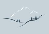 Vektor Landschaft im Gebirge mit Haus