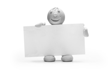 Mann Knete Notiz Info Zettel