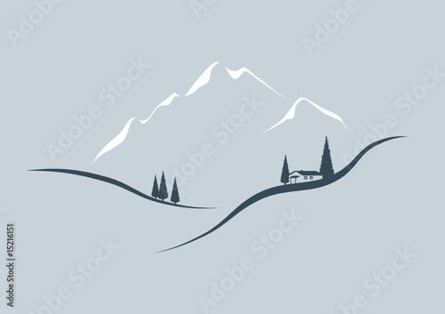 Vektor Landschaft im Gebirge mit Haus - 15216151