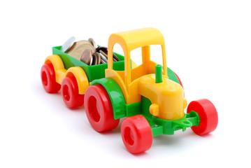 The toy excavator wheels money